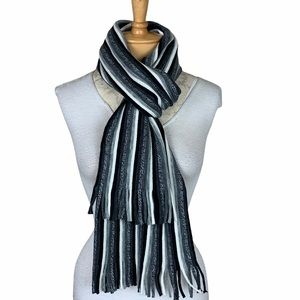 H&M Stripe Knit Rectangle Scarf w Fringe Black Mix